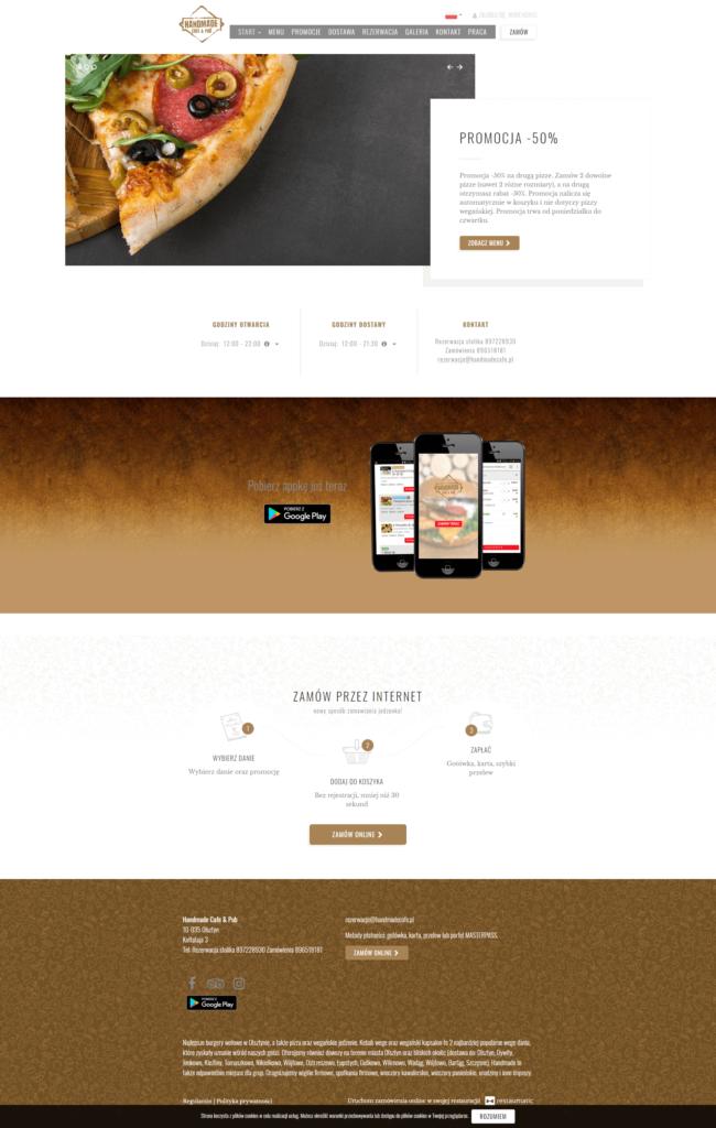 przykladowa strona restauracji Handmade Cafe