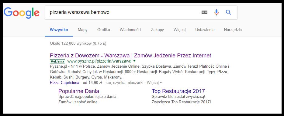 Reklama adwords dla Restauracji