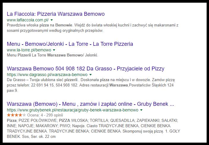 wyniki w google dla zapytania pizzeria warszawa bemowo